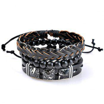 Woven Faux Leather Beads Friendship Bracelets Set -  COLORMIX