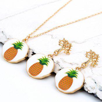 Pineapple Pattern Pendant Necklace Set