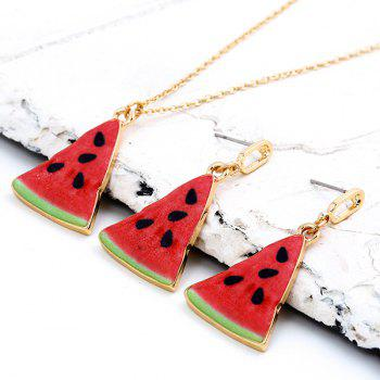 Triangle Cartoon Watermelon Pendant Necklace Set - RED RED