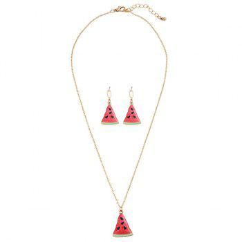 Triangle Cartoon Watermelon Pendant Necklace Set -  RED