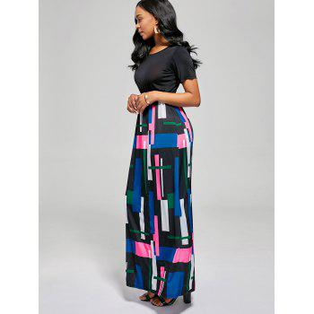 Geometric Print A Line Floor Length Dress - BLACK / ROSE BLACK / ROSE