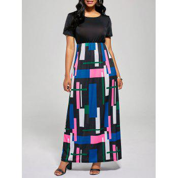 Geometric Print A Line Floor Length Dress - BLACK + ROSE BLACK / ROSE