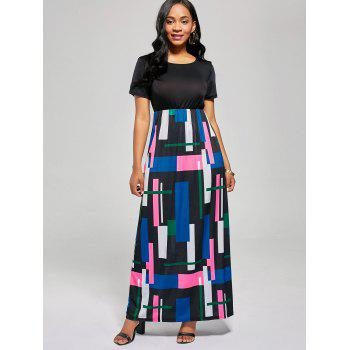 Geometric Print A Line Floor Length Dress - BLACK / ROSE XL