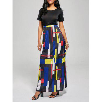 Geometric Print A Line Floor Length Dress - BLACK AND RED M