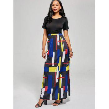 Geometric Print A Line Floor Length Dress - M M