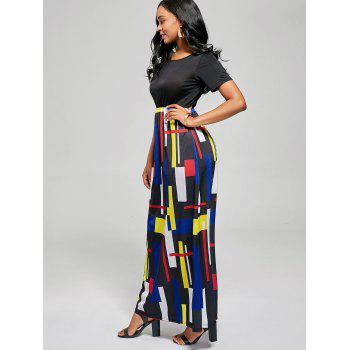 Geometric Print A Line Floor Length Dress - BLACK/RED BLACK/RED