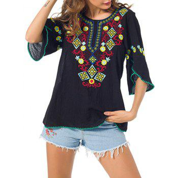 Floral Embroidered Peasant Blouse with Petal Sleeve - BLACK M