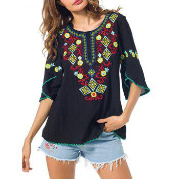 Floral Embroidered Peasant Blouse with Petal Sleeve