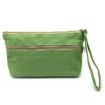 Cartoon Print Canvas Wristlet -  GREEN