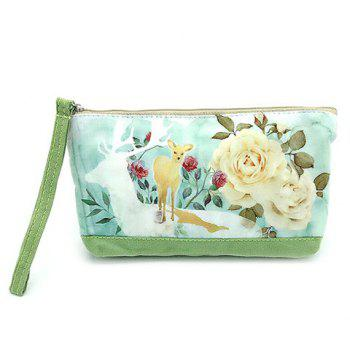 Cartoon Print Canvas Wristlet - GREEN GREEN