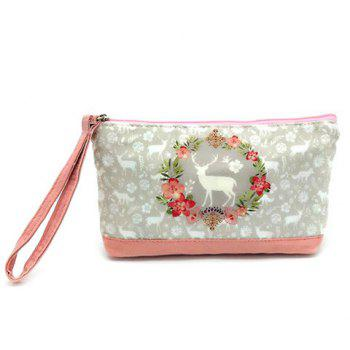 Cartoon Print Canvas Wristlet - PINK PINK