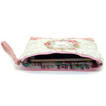Cartoon Print Canvas Wristlet -  PINK