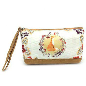 Cartoon Print Canvas Wristlet - GOLDEN GOLDEN