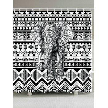 Bohemian Elephant Geometric Waterproof Shower Curtain