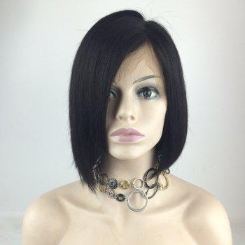 Short Side Part Straight Bob Human Hair Lace Front Wig - NATURAL BLACK