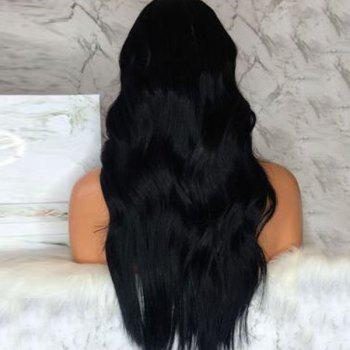Long Middle Parting Wavy Lace Front Human Hair Wig - NATURAL BLACK