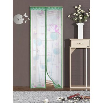 Breathable Anti Insects Mesh Door Screen Magnetic Curtain - GREEN 100*210CM