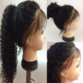 Free Part Shaggy Long Deep Curly Lace Front Human Hair Wig - NATURAL BLACK NATURAL BLACK