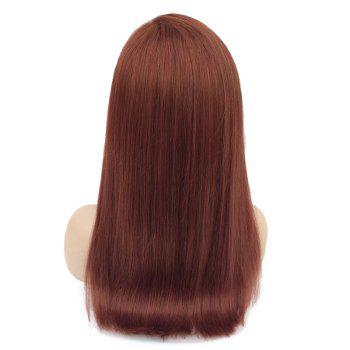 Free Part Long Straight Bob Lace Front Human Hair Wig -  WINE RED