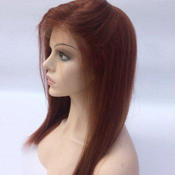 Free Part Silky Long Straight Bob Lace Front Human Hair Wig -  WINE RED