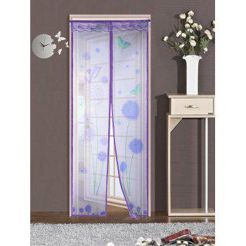 Dandelion Door Screen Insect Stopping Net Magnetic Curtain - PURPLE 90*210CM