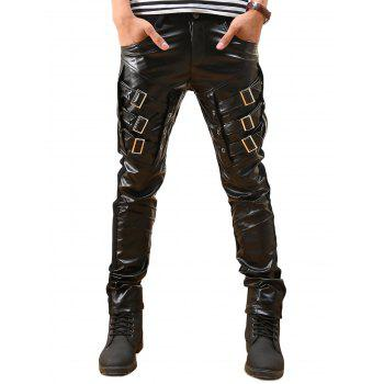 Buckled Skinny Faux Leather Pants