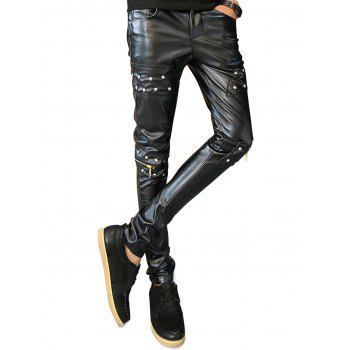 Knee Zip Studs Faux Leather Pants