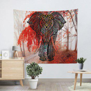 Mangrove Forest Wall Hanging Elephant Tapestry - RED W59 INCH * L79 INCH