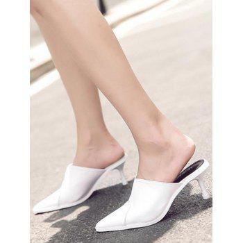 Pointed Toe PU Leather Slippers - WHITE 39
