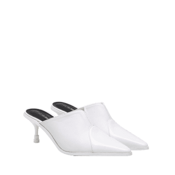 Pointed Toe PU Leather Slippers - WHITE 37