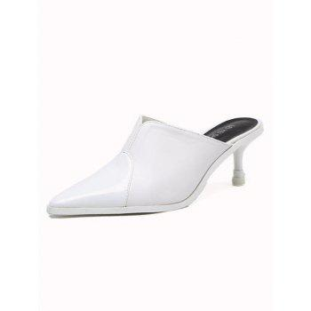 Pointed Toe PU Leather Slippers - WHITE 38