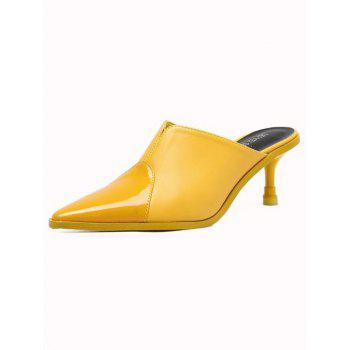 Pointed Toe PU Leather Slippers - YELLOW 39