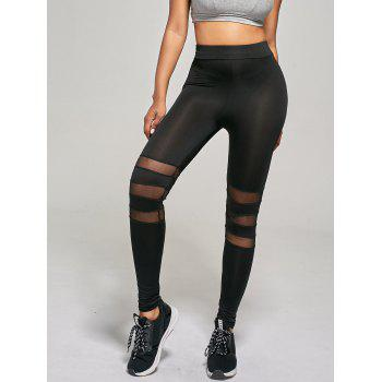 Mesh Panel Tight Leggings - BLACK S
