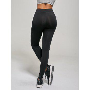 PU Panel Tight Leggings - BLACK BLACK