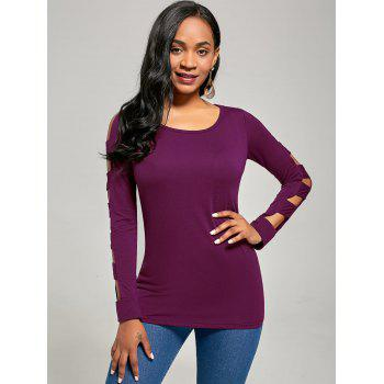 Elegant Women's Solid Color Cut Out T-Shirt For Women - PURPLISH RED PURPLISH RED