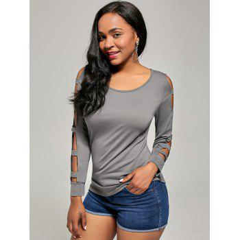 Elegant Women's Solid Color Cut Out T-Shirt For Women - GRAY GRAY