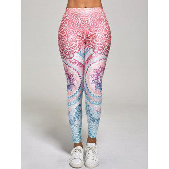 High Waisted Floral Print Ankle Length Leggings - M M