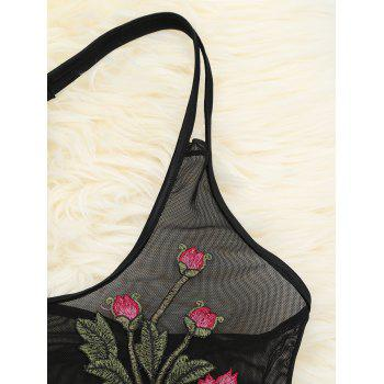 Floral Embroidered Mesh See-Through Teddy - BLACK L