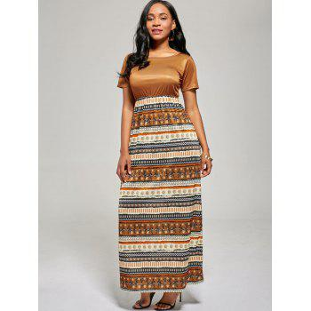 A Line Floor Length Boho Dress - BROWN BROWN