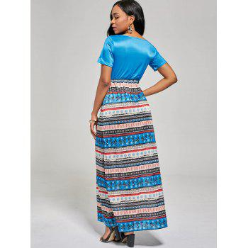 A Line Floor Length Boho Dress - BLUE BLUE