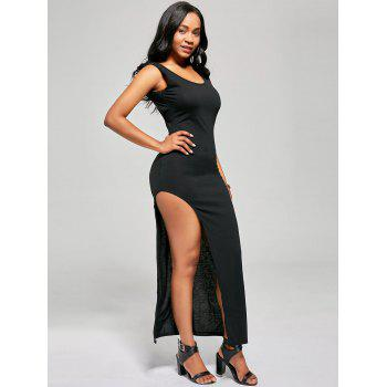 Slip Side Criss Cross Club Bodycon Dress - Noir M
