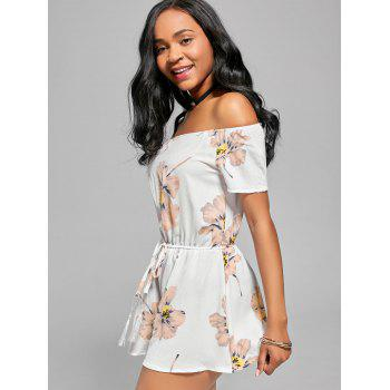 Off The Shoulder Floral Tassel Romper - WHITE S