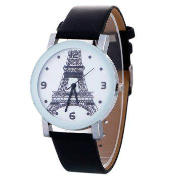 Faux Leather Watch With Effiel Tower Face