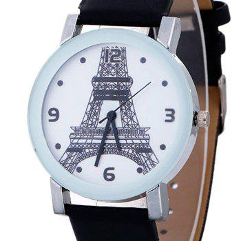 Faux Leather Watch With Effiel Tower Face - BLACK