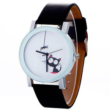 Faux Leather Strap Cat Analog Watch
