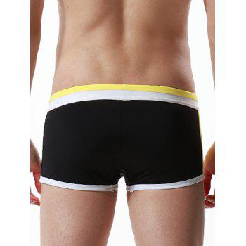 Color Block Panel Pouch Drawstring Swimming Trunks - YELLOW L