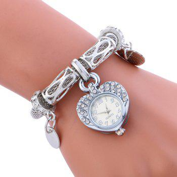 Rhinestone Alloy Heart Charm Bracelet Watch