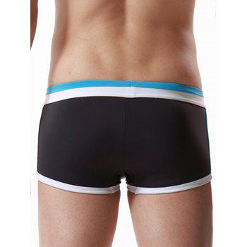 Color Block Panel Pouch Drawstring Swimming Trunks - AZURE XL