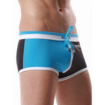 Color Block Panel Pouch Drawstring Swimming Trunks - AZURE AZURE