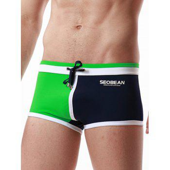 Color Block Panel Pouch Drawstring Swimming Trunks - GREEN L